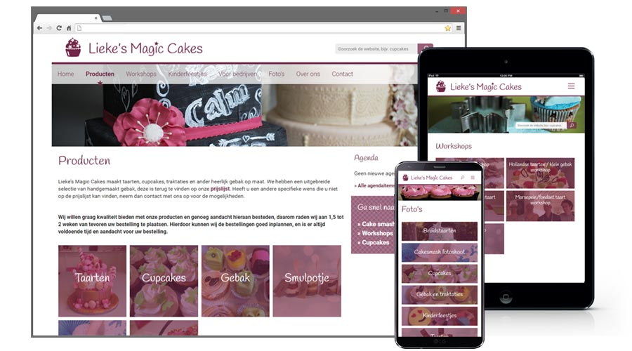 Lieke's Magic Cakes, webdesign & huisstijl